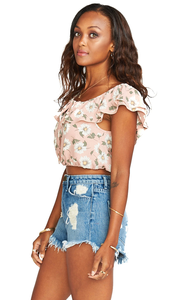 show me your mumu daisy duke floral darla top side photo