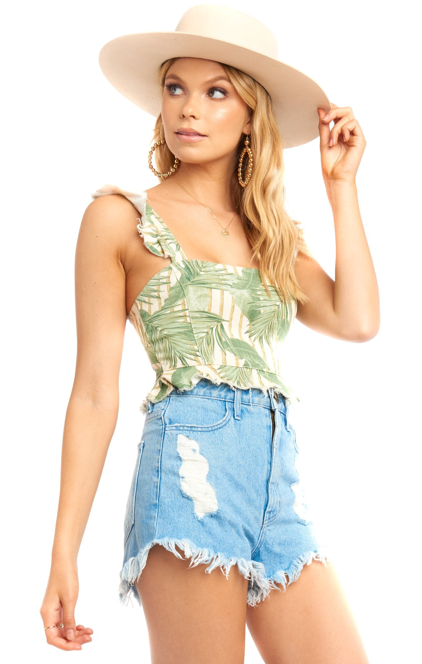 Bamboo Palm Delia Crop Top - Front