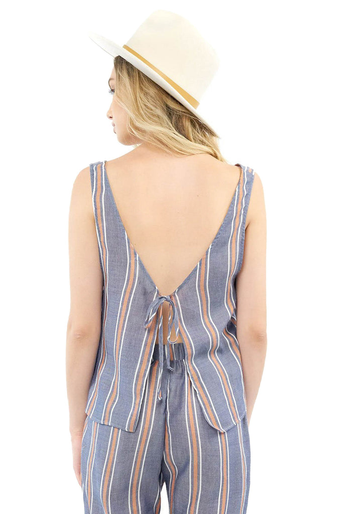 saltwater luxe indigo stripe tank with fly away open tie back