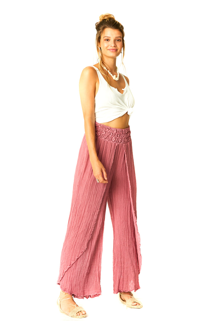 Dried Roses Gauze Borboleta Pants - Side