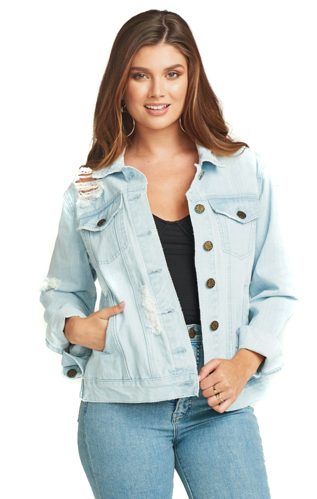 show me your mumu distressed cotton denim jacket