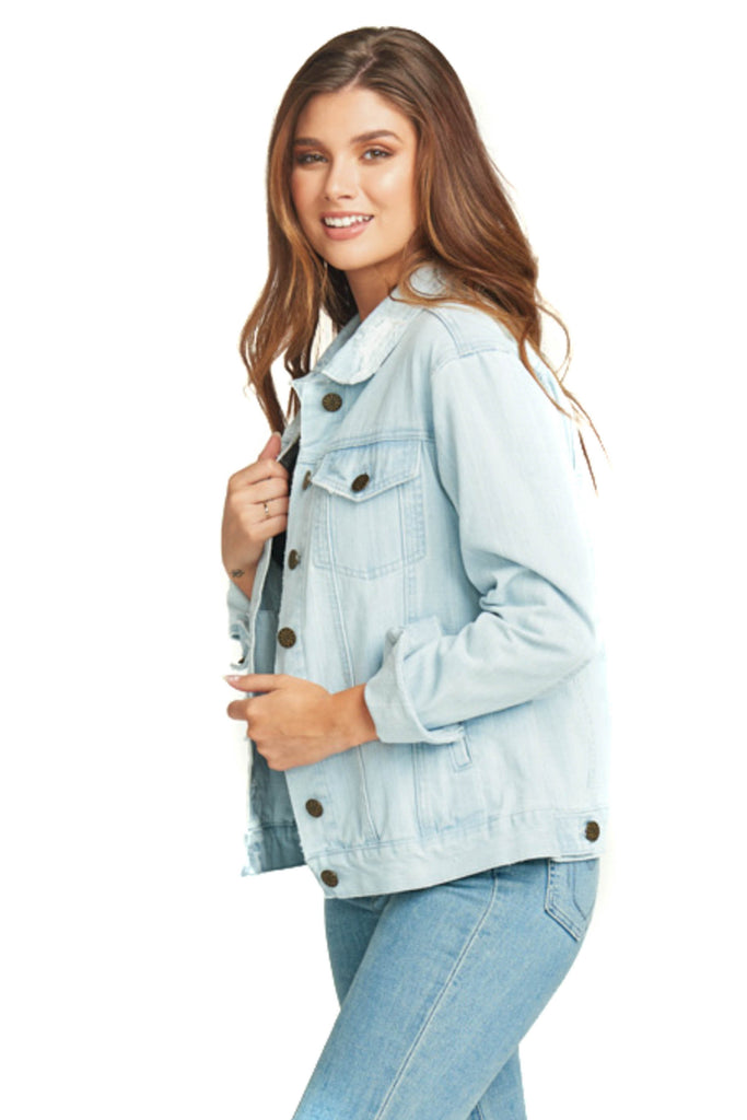 show me your mumu light washed cotton denim jacket side photo