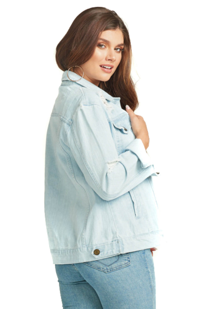 show me your mumu cotton denim jacket back photo