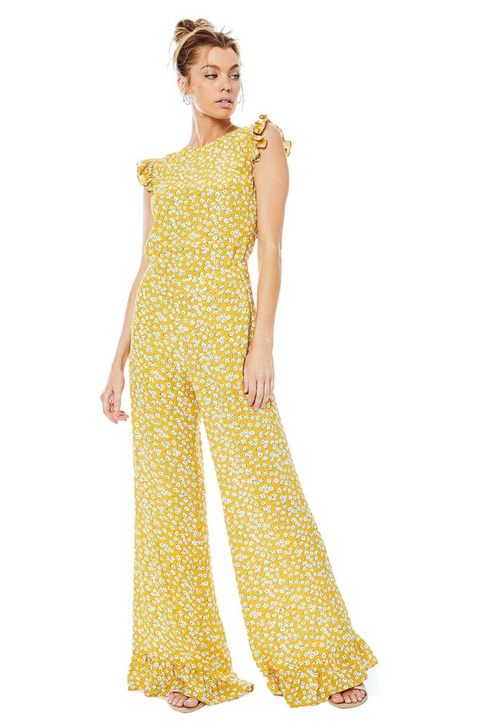 Emily Gold Piper Jumpsuit - Front