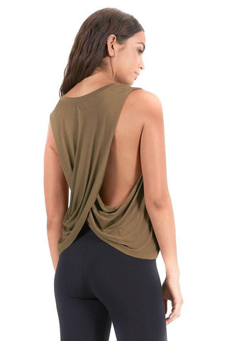 joah brown olive exhale tank back photo
