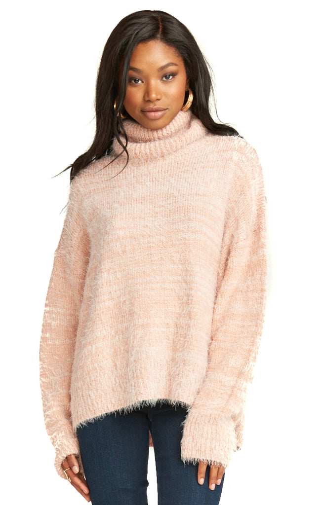 Show Me Your Mumu Fuzzy Pink Knit Fatima Turtleneck Sweater