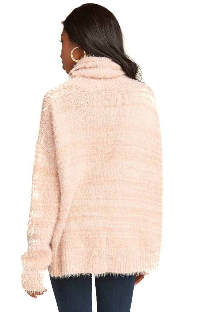 Show Me Your Mumu Fuzzy Pink Knit Fatima Turtleneck Sweater - Back