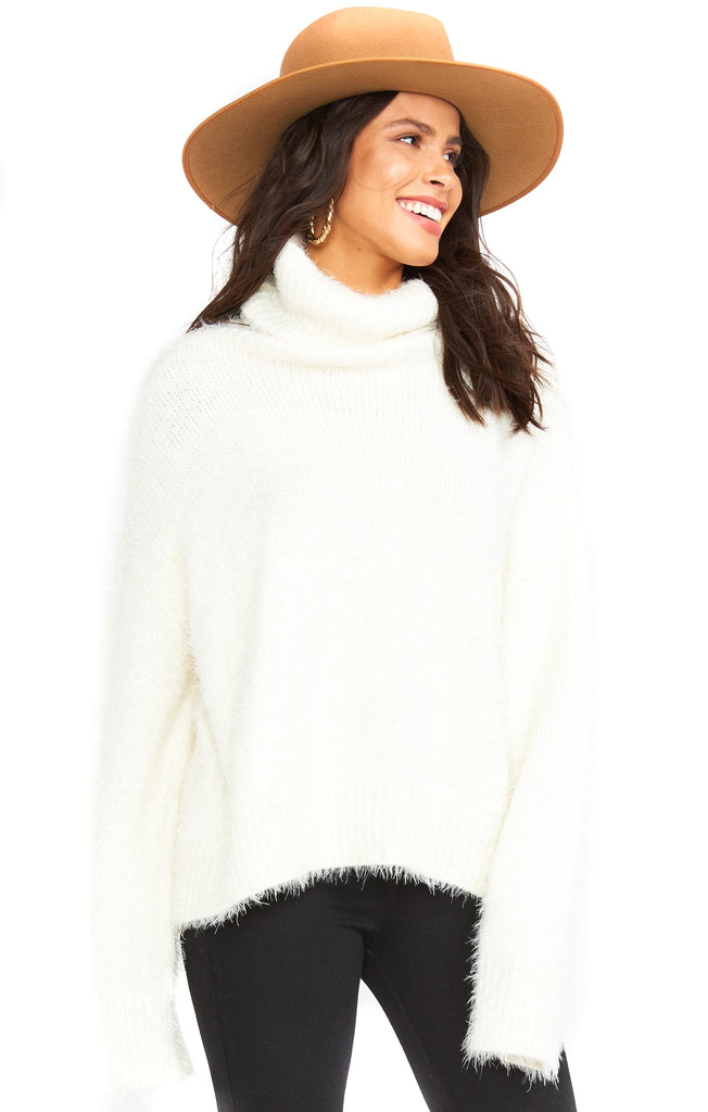 Fuzzy White Knit Fatima Turtleneck Sweater
