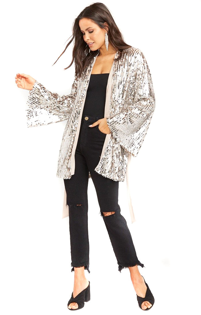 Platinum Party Sequins Giselle Kimono Dress - untied