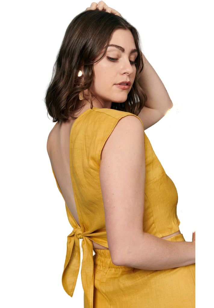 Gold Linen Valentina Top - Back