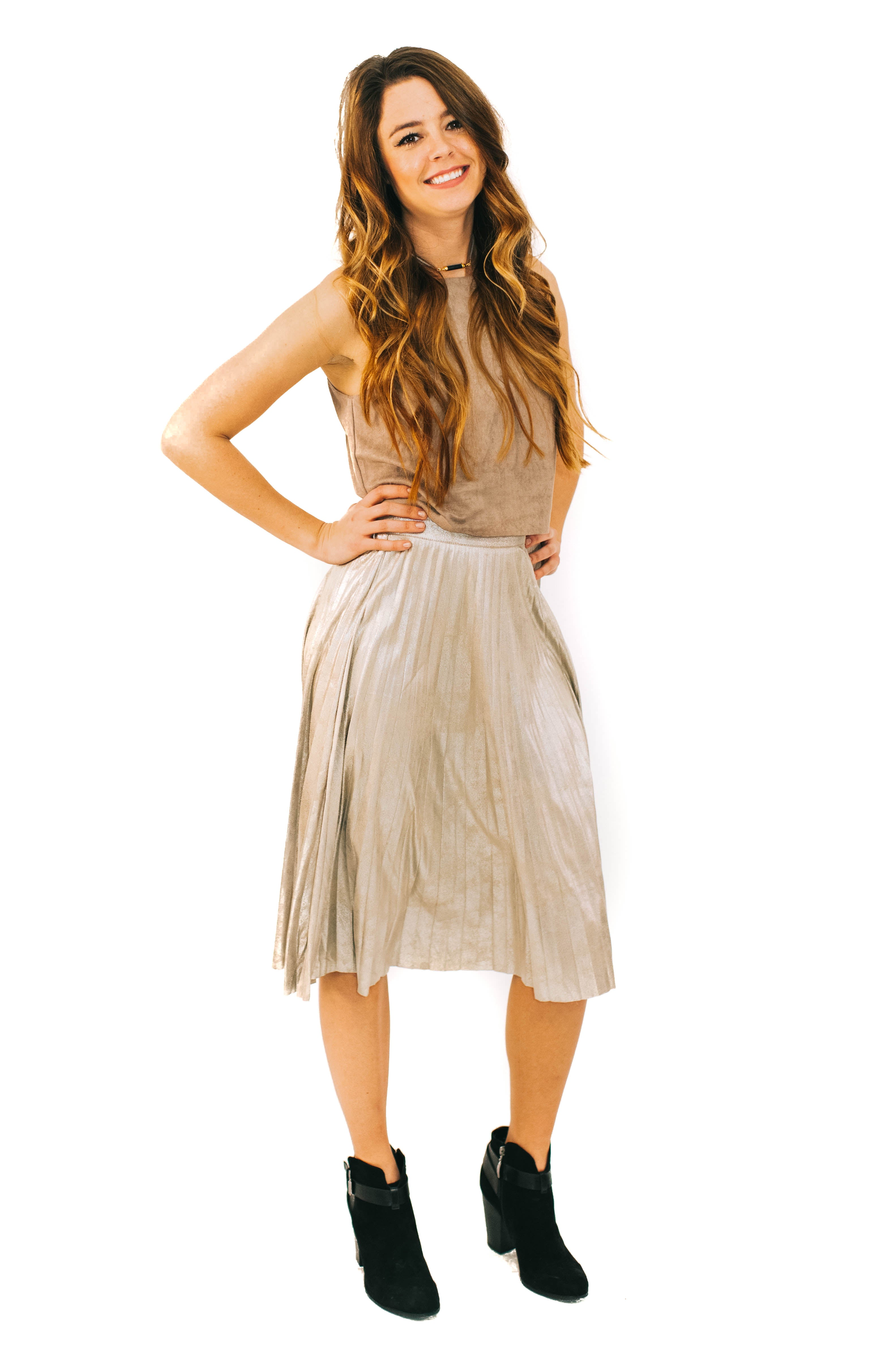 Gold Foil Pleated Skirt