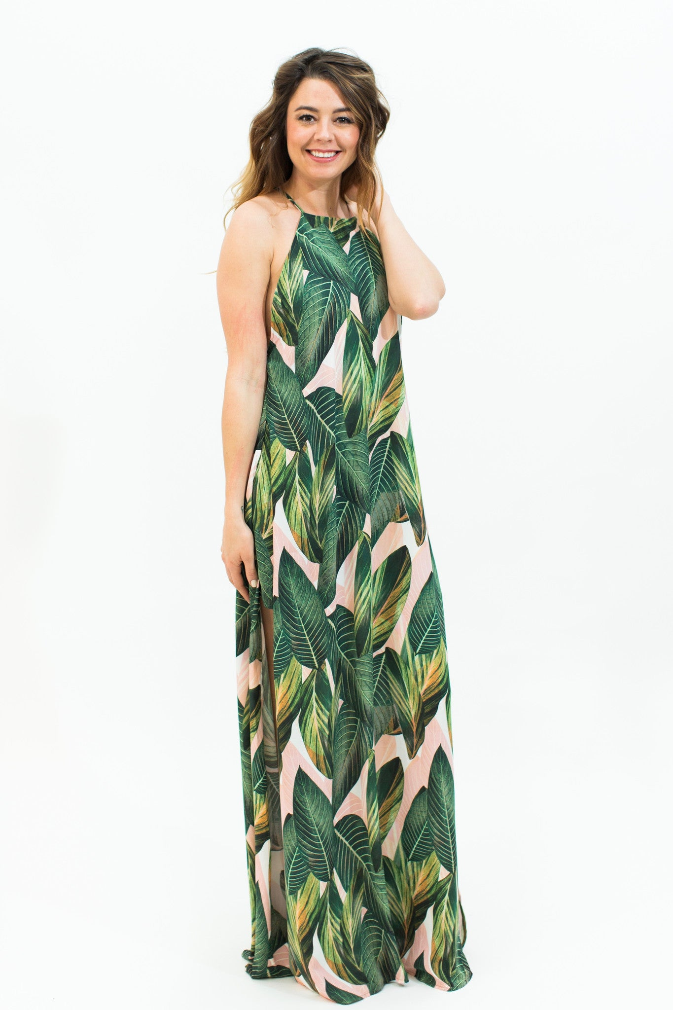 Peachy Palm Maxi Dress