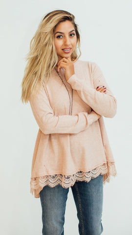scandal italy rose sweater with lace hem