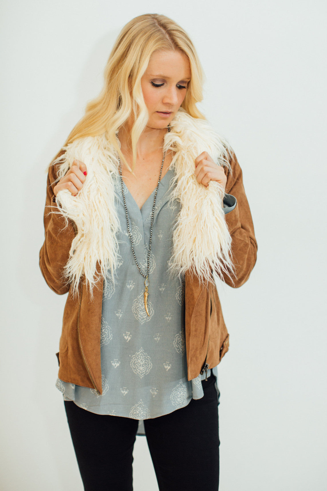 Vegan Suede Amelia Jacket with Sherpa
