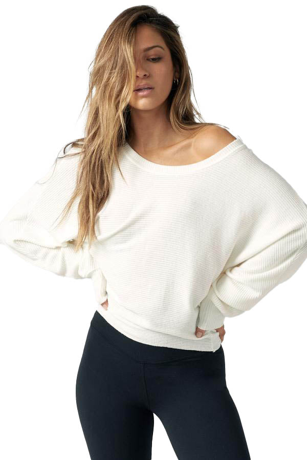 Ivory Rib Slouchy Dolman Long Sleeve - front