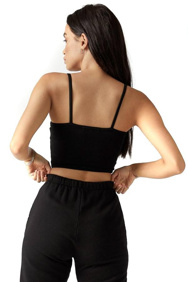 Joah Brown black cropped cami with high waisted black joggers back photo