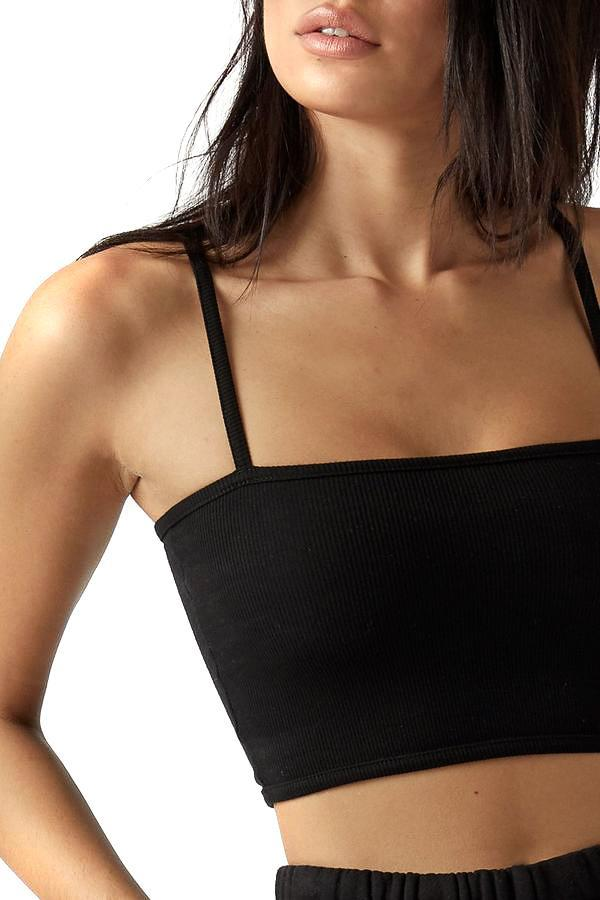 Joah Brown Black Cropped Cami Close Up