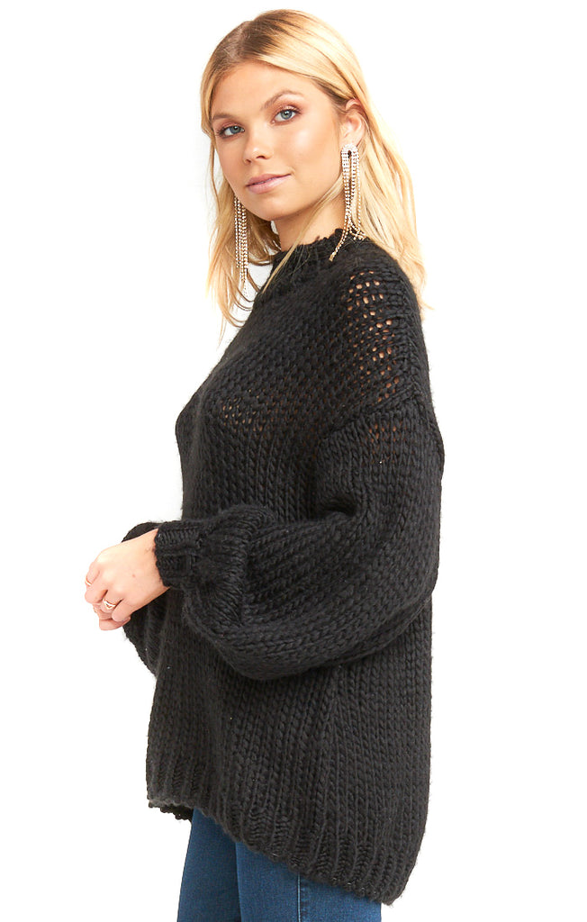 Black Knit Jude Sweater - side