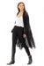 open sheer black duster with white tee and black pants