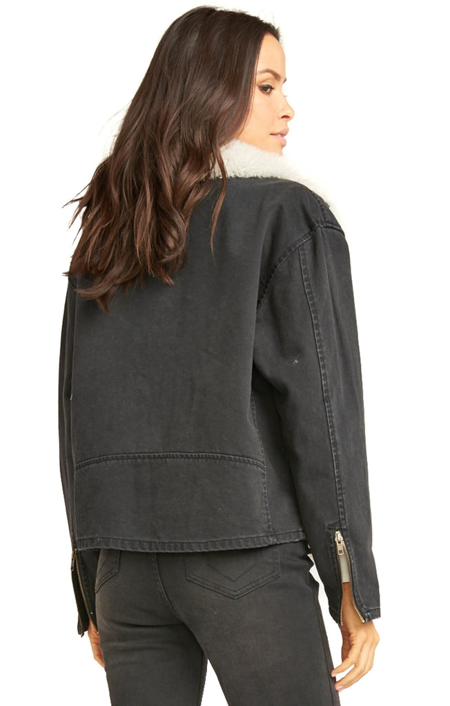 Show Me Your Mumu Washed Black Karson Denim Jacket - Back