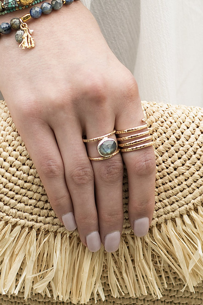 Labradorite Leor Ring - shown on a hand