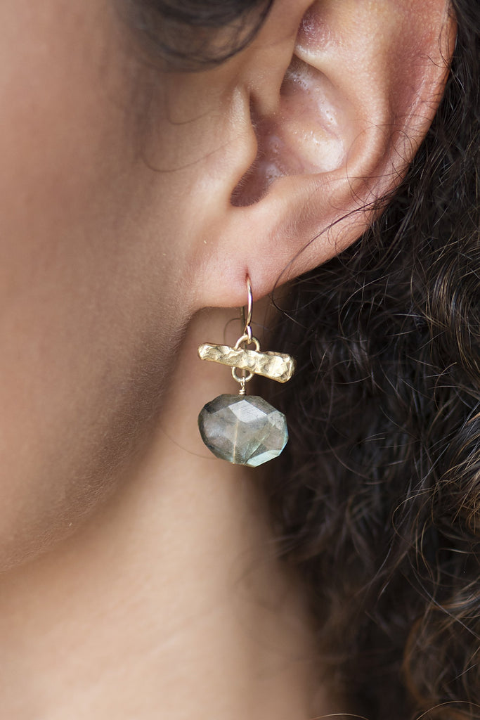 Labradorite Oval Drop Earrings on a model