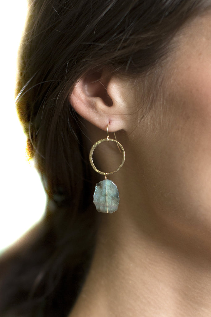 Labradorite Slice Hammered Gold Hoop Earrings on a model