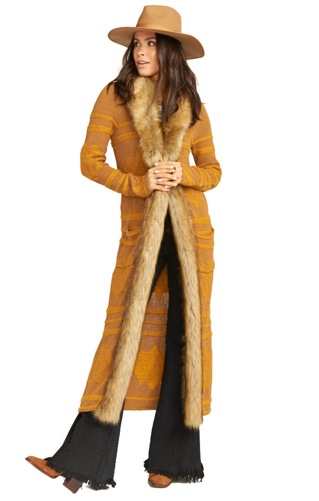 long gold show me your mumu cardigan with faux fur trim and geo stitching