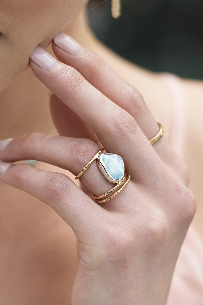 Larimar Ring closeup on a model