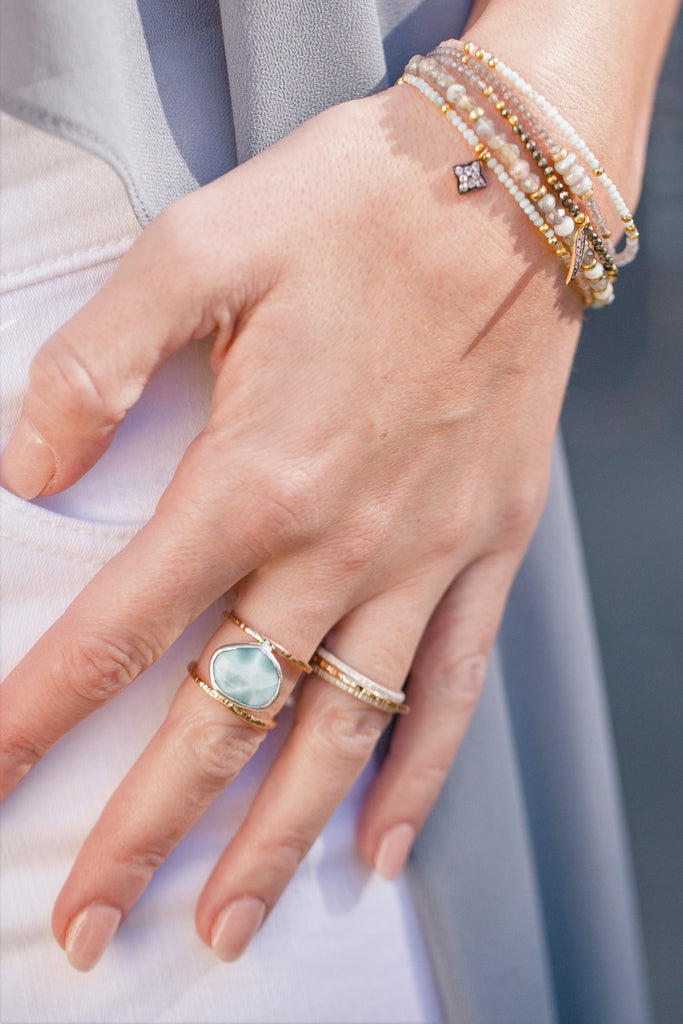 Larimar Ring on a model