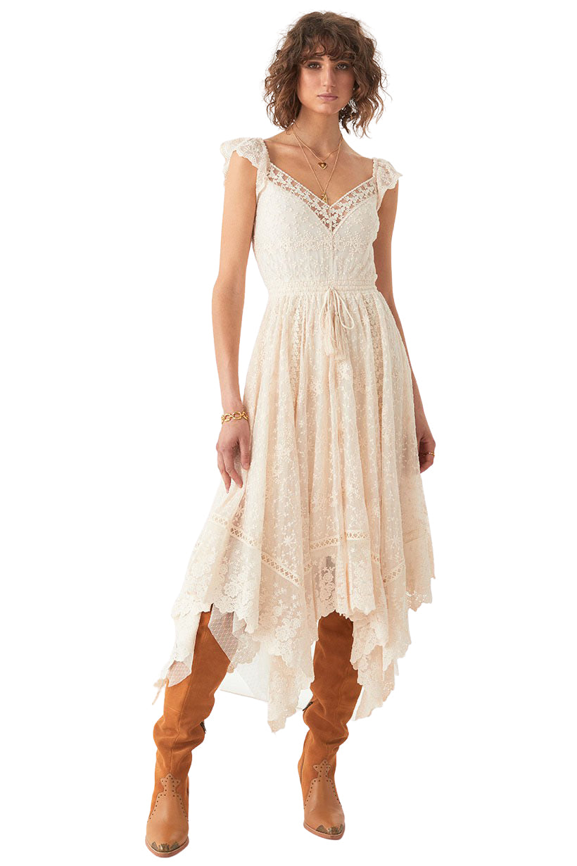 Off White Le Gauze Lace Kerchief Dress - Front