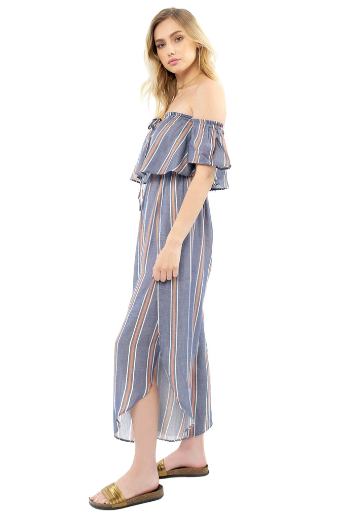 saltwater luxe indigo striped off the shoulder jumpsuit side photo