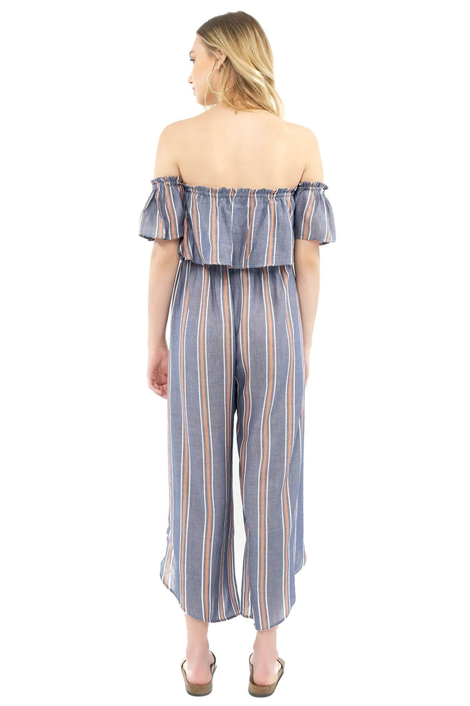 saltwater luxe off the shoulder indigo striped jumpsuit back photo