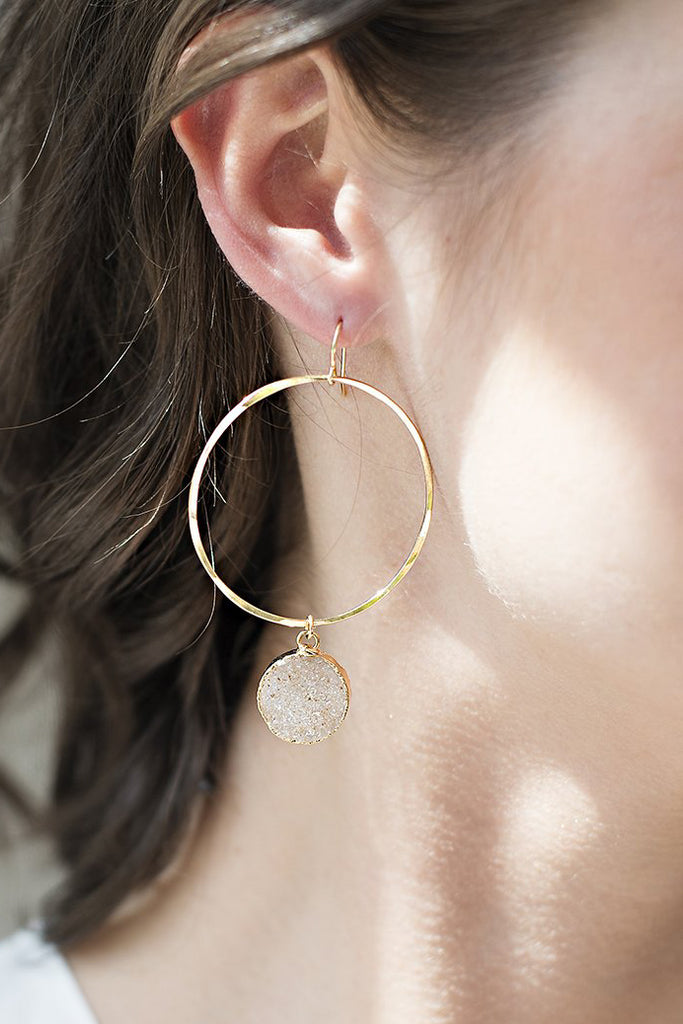 Light and Bright Druzy Hammered Gold Hoop Earrings
