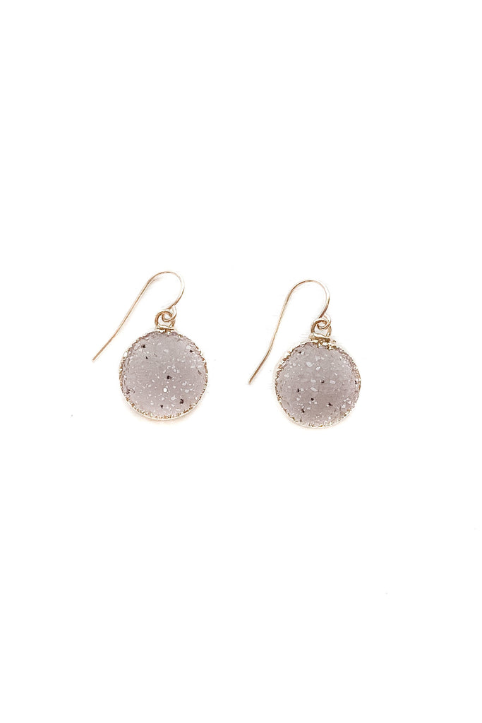 Light and Bright Round Druzy Earrings
