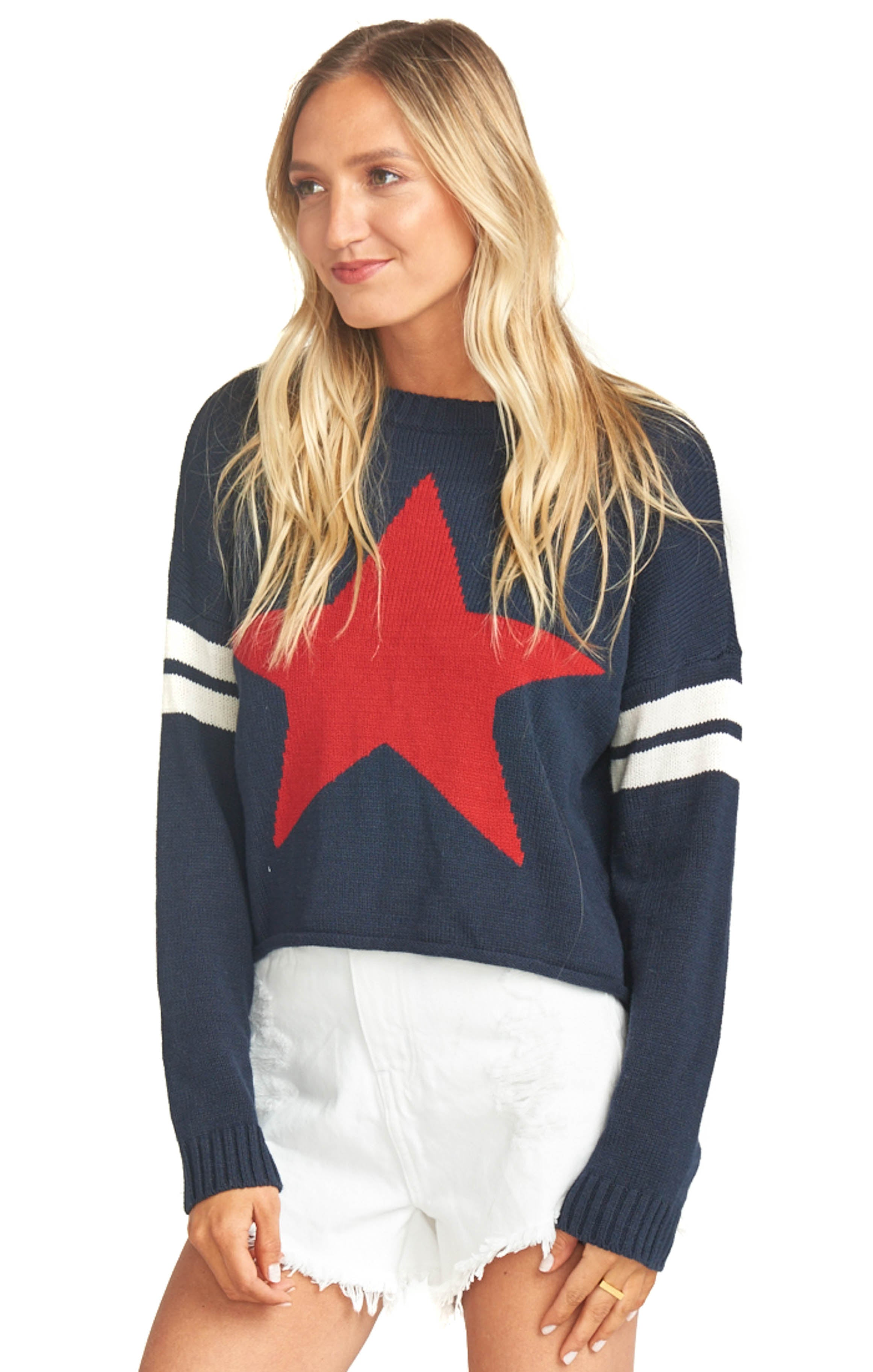 Lone Star Knit Cropped Varsity Sweater