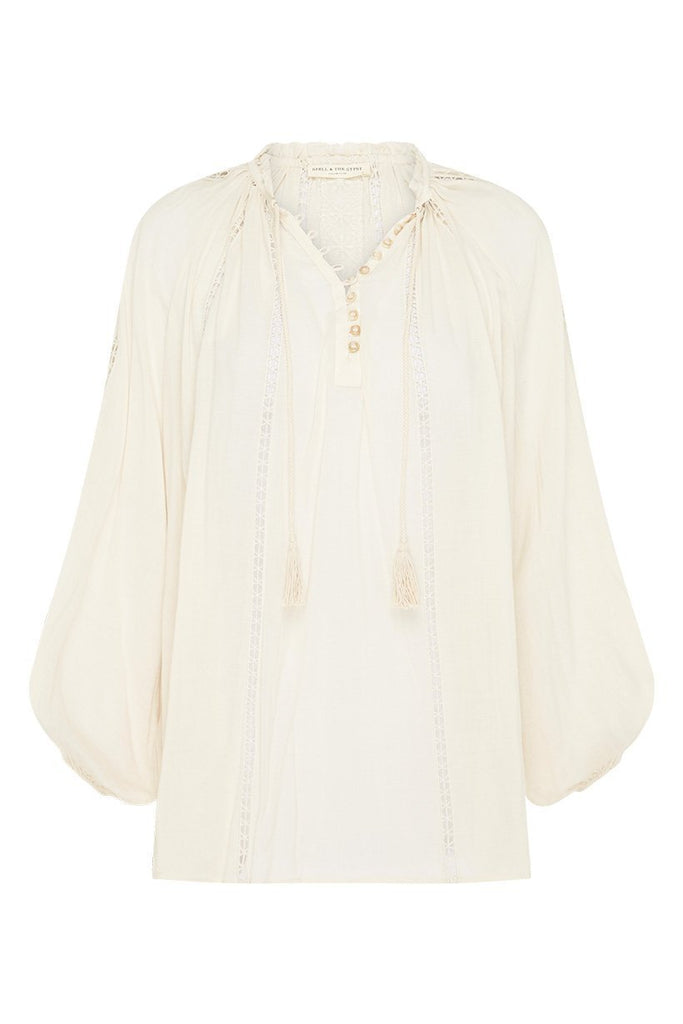 Spell & The Gypsy Collective Cream Loves Me Not Blouse - flat lay front