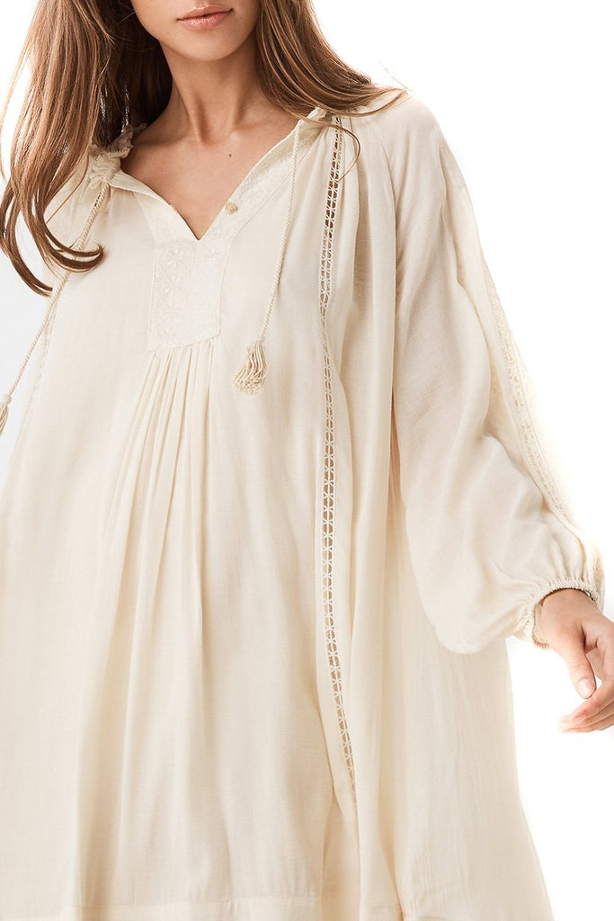 Spell Cream Loves Me Not Tunic Dress - Close Up