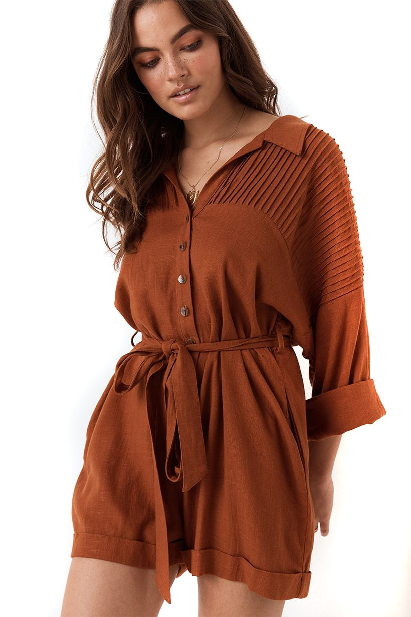 Copper Rani Romper - close