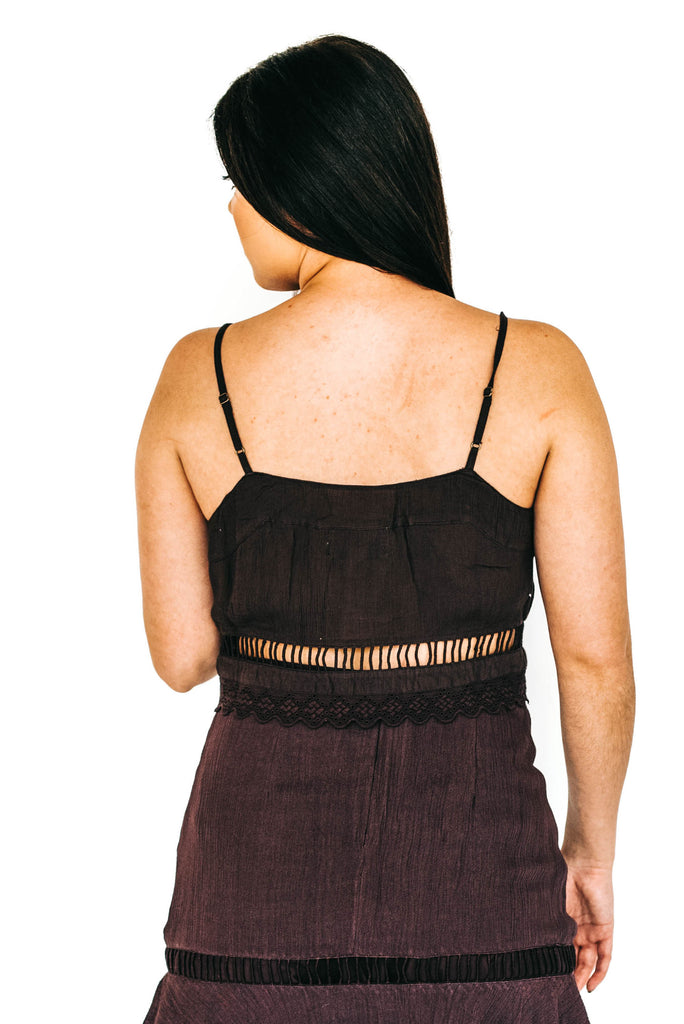purple cropped cami with matching high waisted skirt back photo