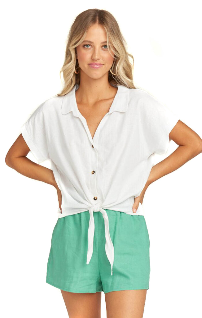 White Linen Mike Top