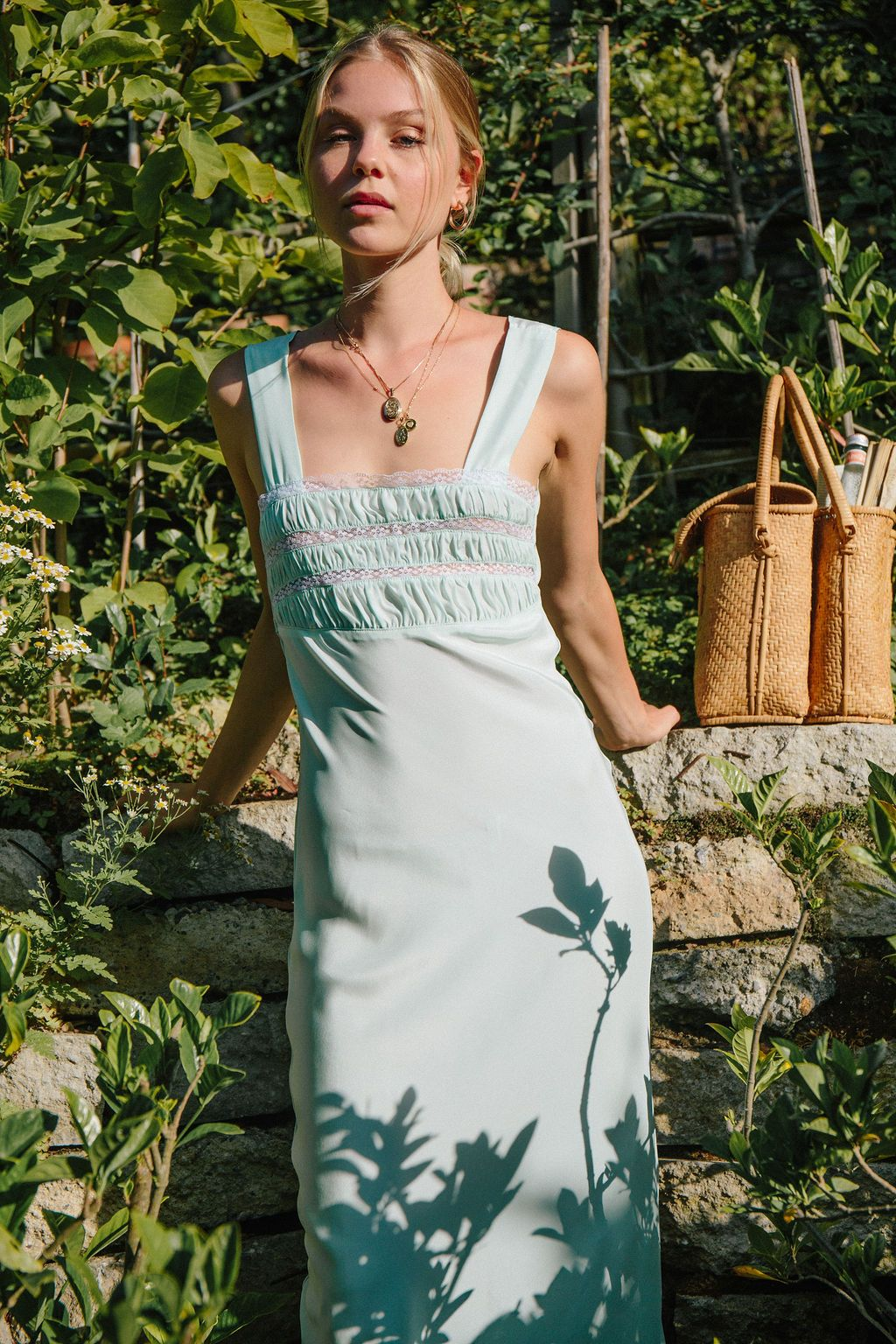 Mint Silk Juliet Dress - Front