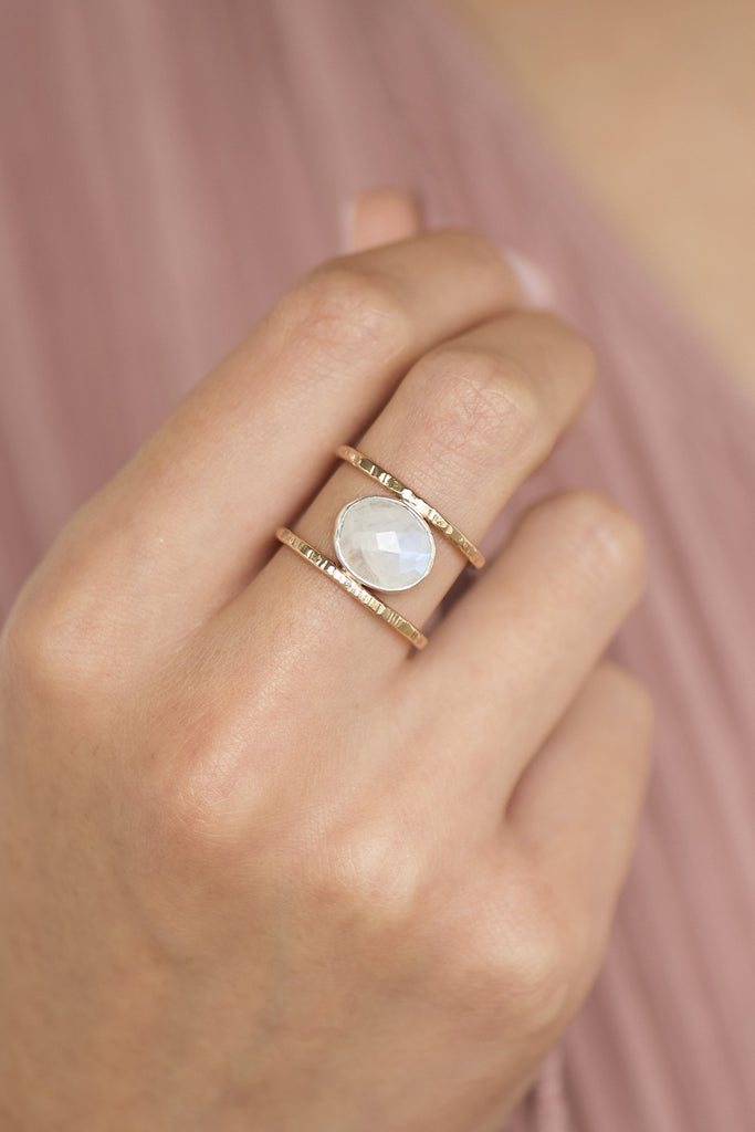 Moonstone Leor Ring closeup on a model