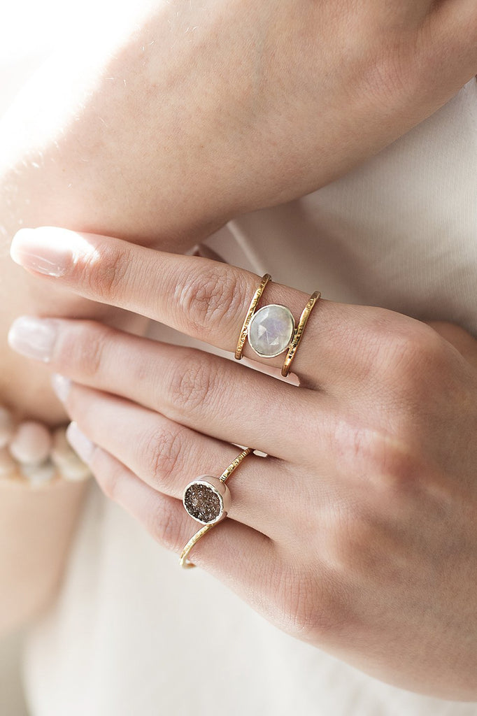Moonstone Leor Ring on a model