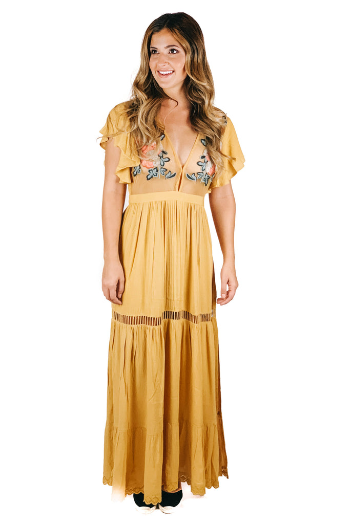 cleobella mustard amery dress
