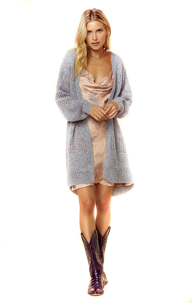 open heather grey loose knit cardigan over slip dress