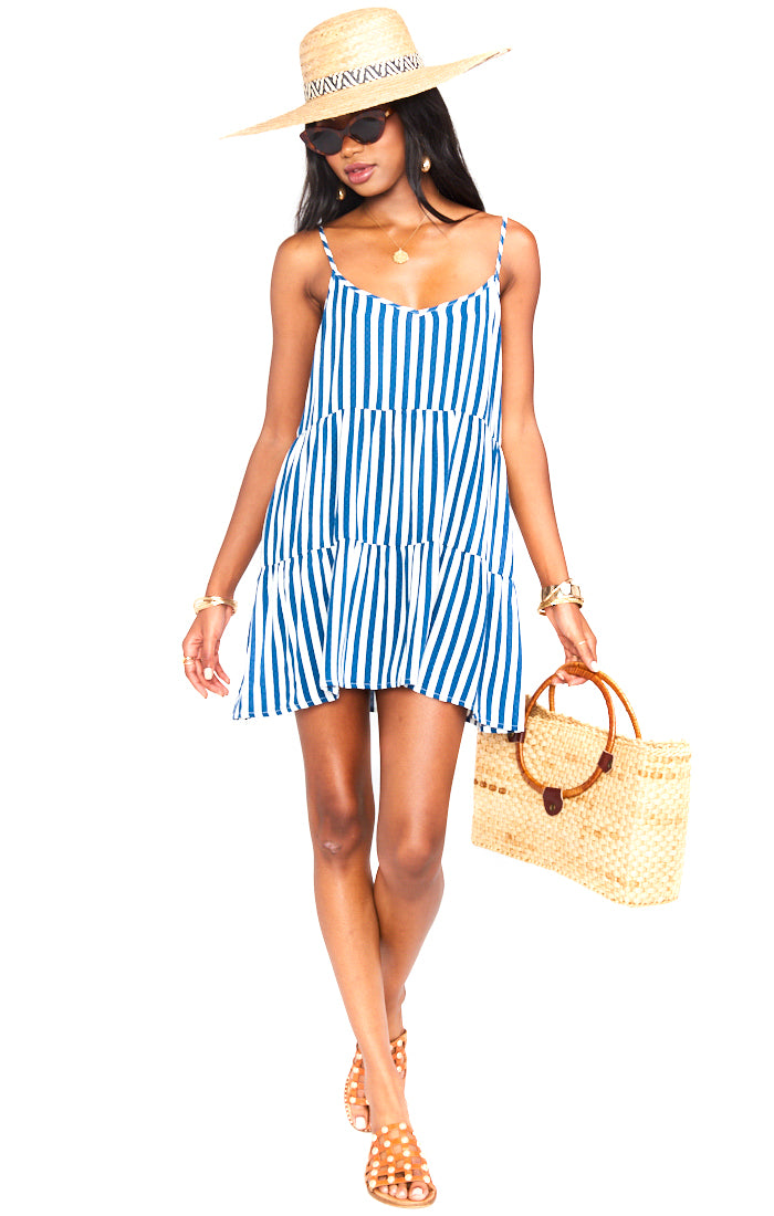 Ocean Stripe Caroline Mini Dress - Full Length