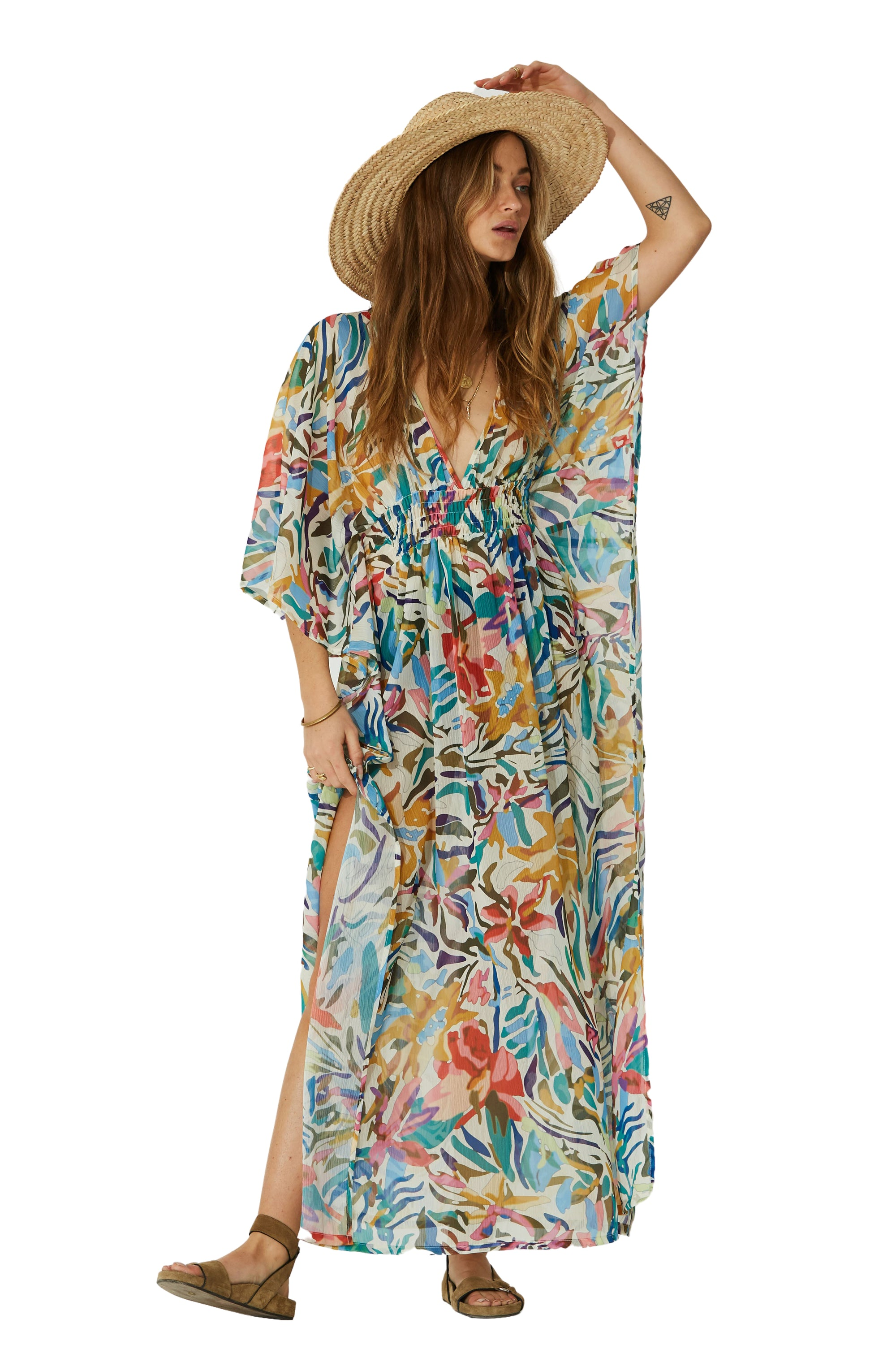 Paradise Morning Light Coconut Kaftan - Front