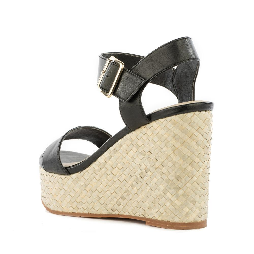 BC footwear black vegan wedge sandal back view