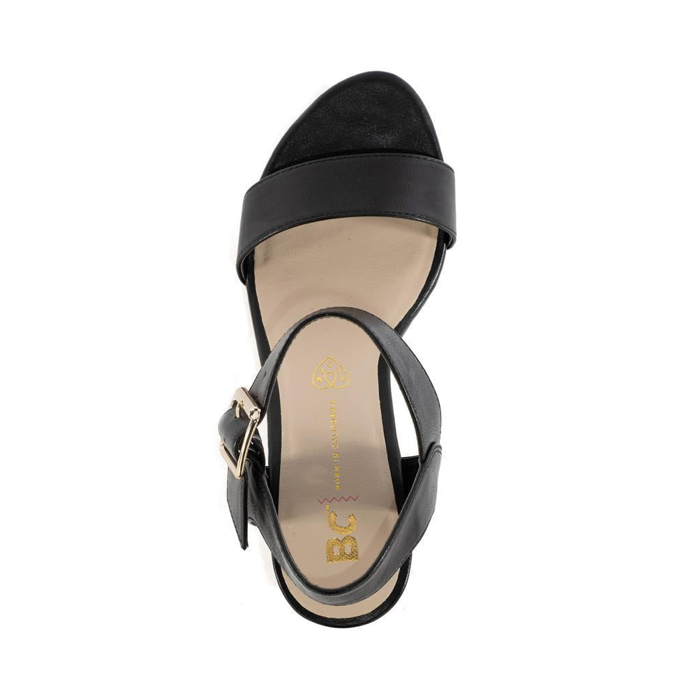 BC footwear vegan wedge sandal top view
